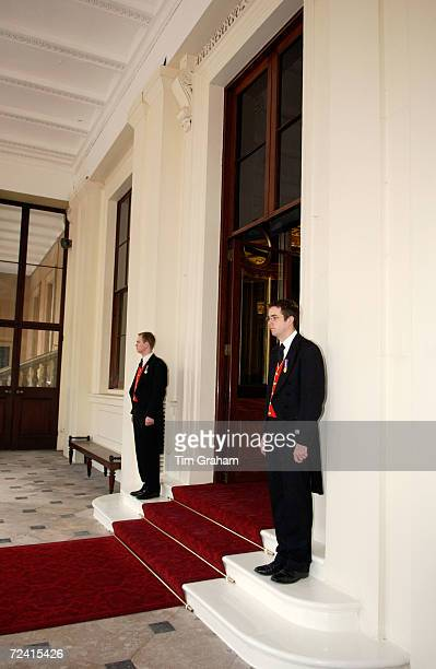 Royal Footmen of the Queen's staff Buckingham Palace UK