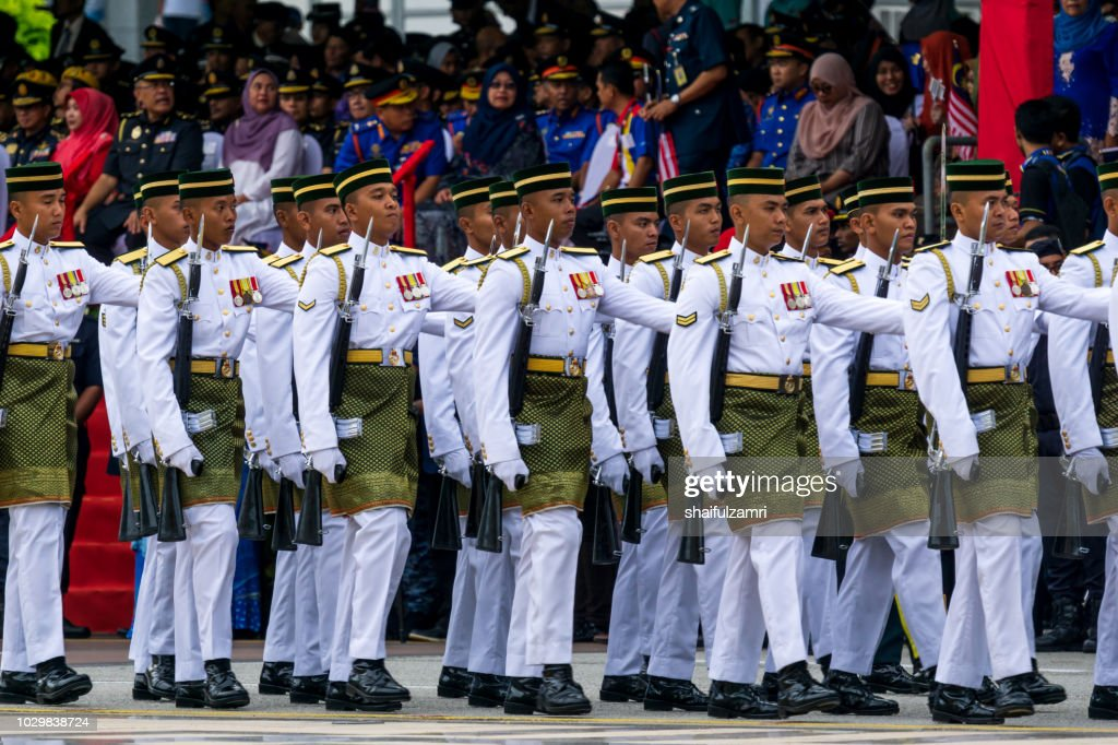 Royal Forces of Malaysian Army takes part during the 61st Independence Day celebration in Putrajaya. : Stock Photo
