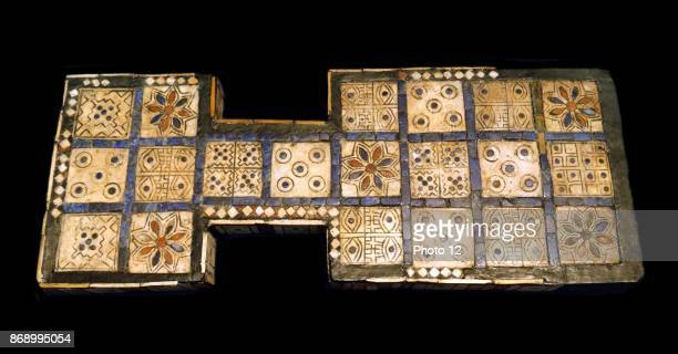 Royal game board found by Leonard Woolley in the Royal Cemetery at Ur southern Iraq about 26002400 BC Inlay of shell red limestone and lapis lazuli