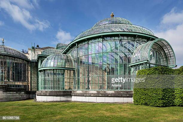 Royal Greenhouses of Laeken in Art Nouveau style, designed by Alphonse Balat in the park of the Royal Palace of Laken, Brussels, Belgium.