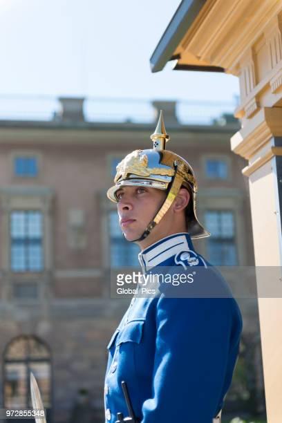 royal guard at the royal palace of stockholm - sweden - the stockholm palace stock pictures, royalty-free photos & images