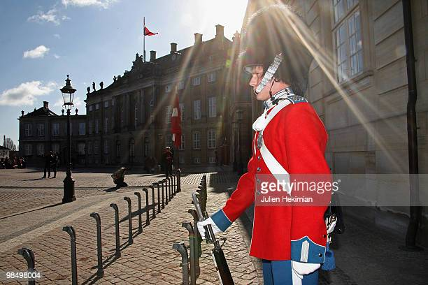 Royal guard attends the Queen Margrethe's 70th Birthday Celebrations at Amalienborg on April 16, 2010 in Copenhagen, Denmark.