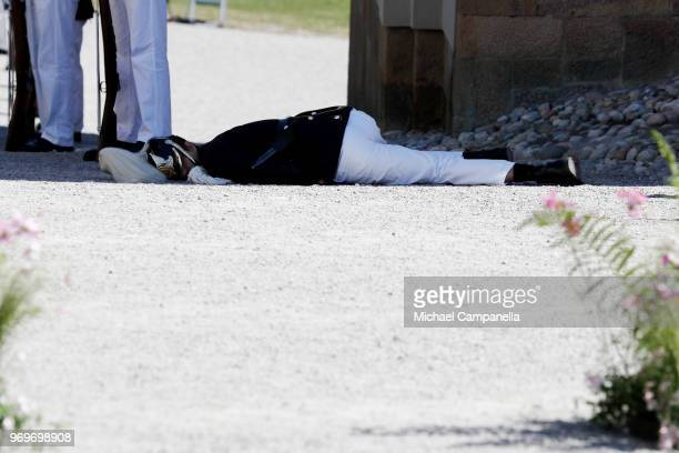 Royal Guard faints during the christening of Princess Adrienne of Sweden at Drottningholm Palace Chapel on June 8 2018 in Stockholm Sweden