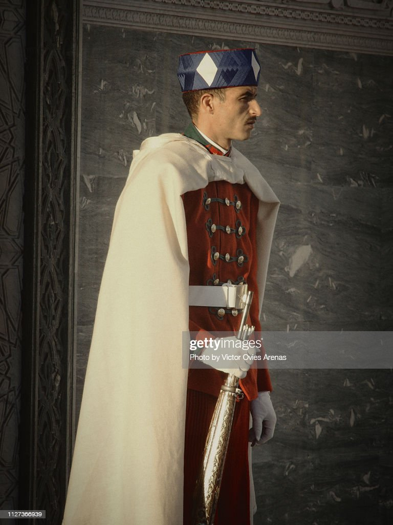 Royal guard, Hassan Tower, Rabat, Morocco : Foto de stock