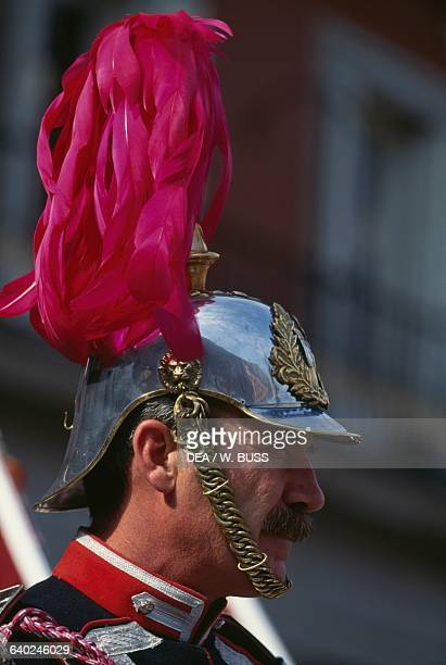 Royal Guard on horseback Plaza Mayor Madrid Spain Detail