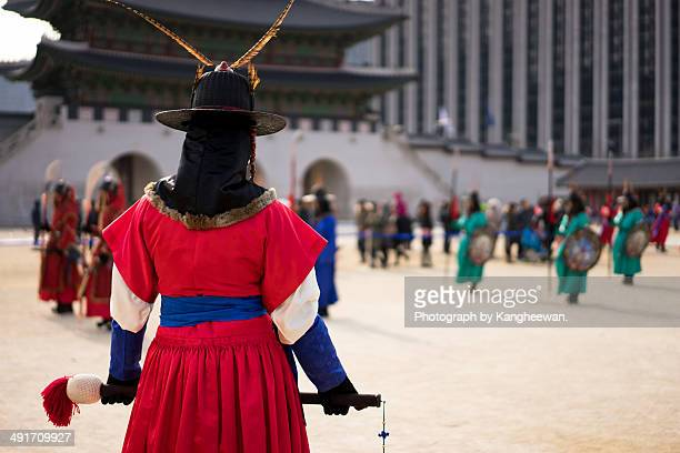 a royal guard - gyeongbokgung stock photos and pictures