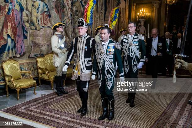 Royal guards arrive at a gala dinner hosted by the Swedish royal family in connection with the state visit from the Italian president at the...