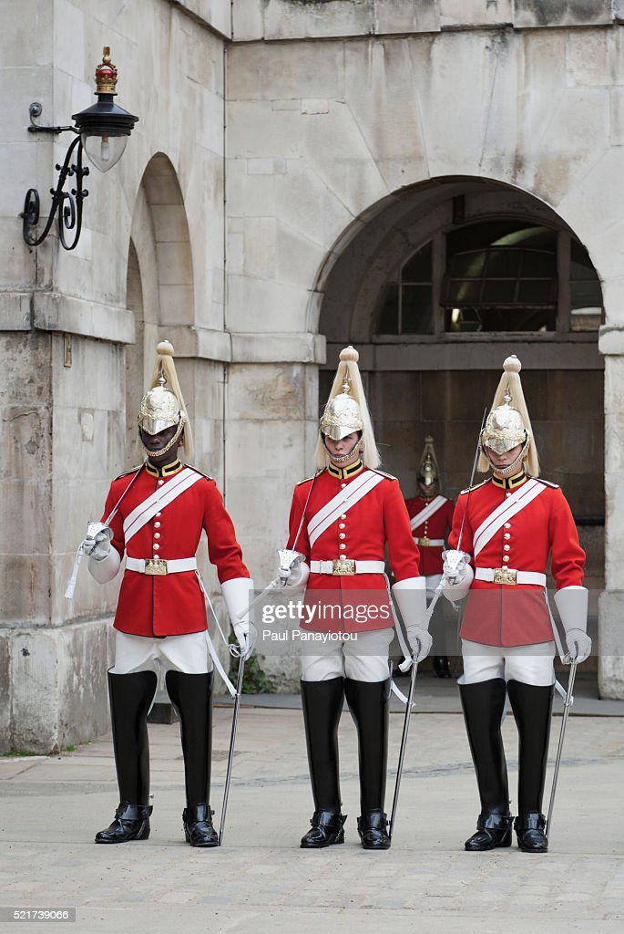 Royal Guards at the Horse Guards Parade in Whitehall, London, UK : Stock Photo