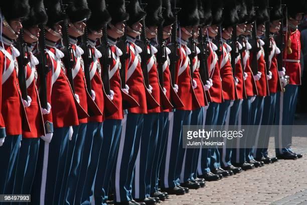 Royal guards attend the Queen Margrethe's 70th Birthday Celebrations at Copenhagen city hall on April 16, 2010 in Copenhagen, Denmark.