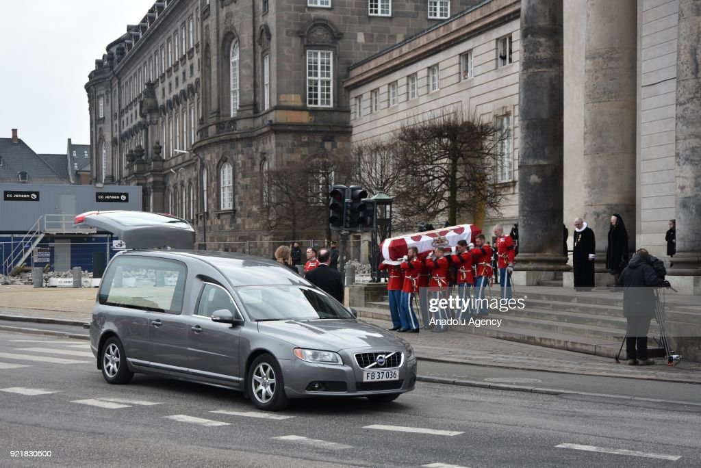 Royal Guards carry the coffin of Prince Henrik, the husband of Queen Margrethe II of Denmark, from Christiansborg Palace to the crematorium in Copenhagen, Denmark on February 20, 2018.