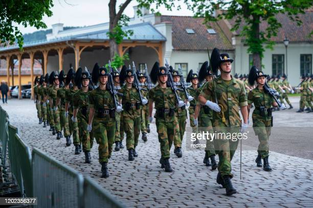 royal guards in oslo - army stock pictures, royalty-free photos & images
