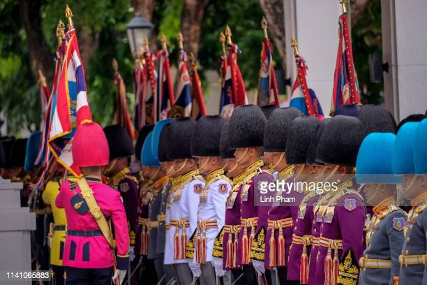Royal Guards march during the coronation of Royal Coronation of King Rama X on May 4 2019 in Bangkok Thailand Thailand held its first coronation for...