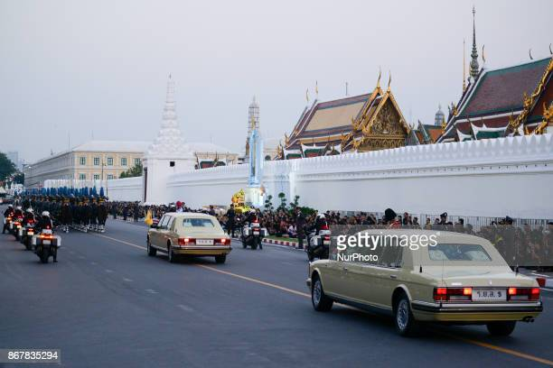 Royal guards march in a procession to escort the relics and bone ashes of Thailand's late King Bhumibol Adulyadej to be enshrined in two temples in...