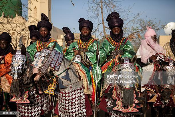 Royal Guards of the emir Muhammad Sanusi II pose February 8 in Kano Nigeria during a Durbar ceremony in honor of the coronation of the emir Sanusi a...