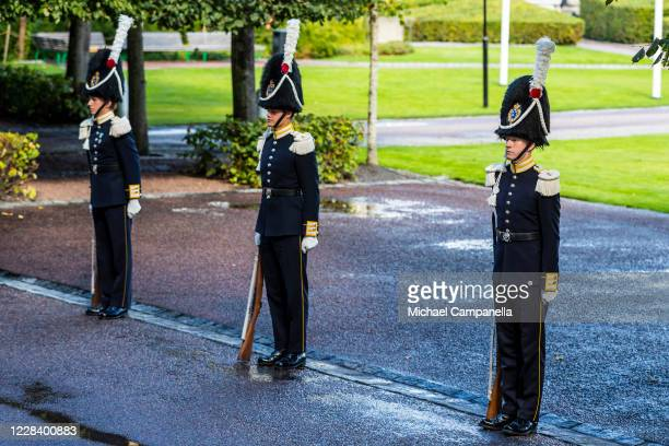 Royal guards participate in a ceremony in connection with the opening of the Swedish Parliament for the fall session at the Riksdag Parliament...