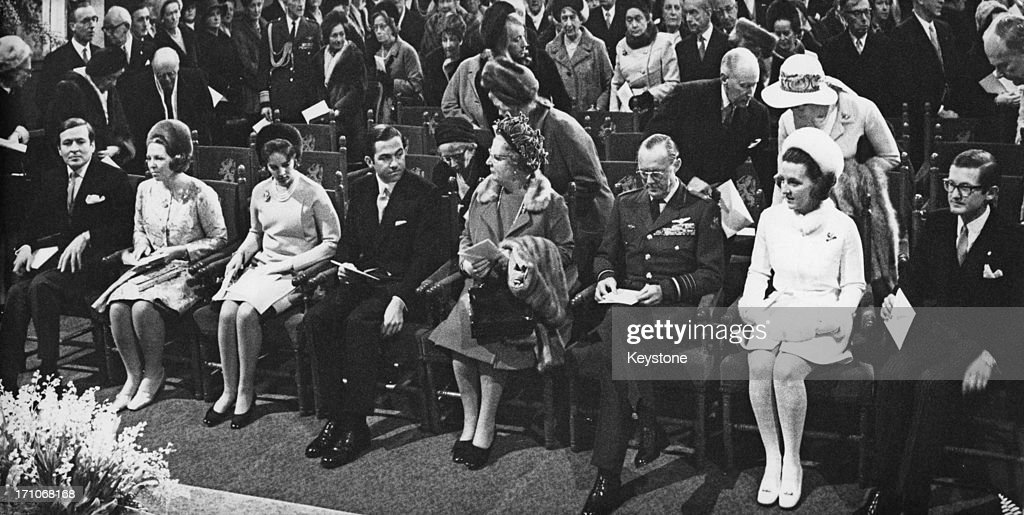 Royal guests at the christening of Prince Constantijn of the Netherlands, at St. Martin's Cathedral (Dom Church), Utrecht, 21st February 1970. Left to right: Prince Claus, Princess Beatrix, Queen Anne-Marie of Greece, King Constantine II of Greece, Queen Juliana (1909 - 2004), Prince Bernhard of the Netherlands (1911 - 2004), Princess Margriet and Pieter van Vollenhoven.