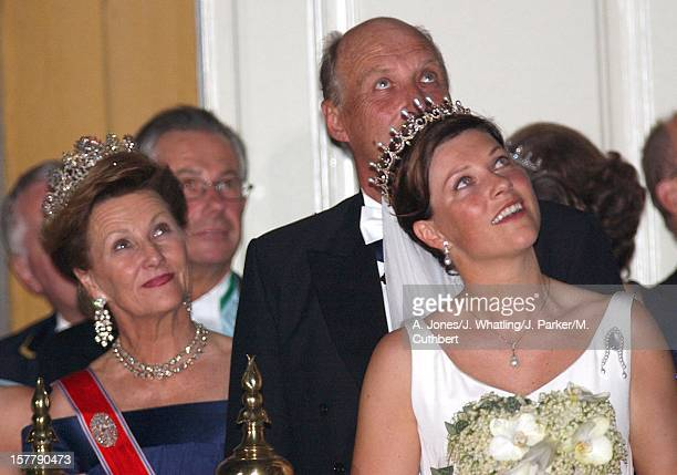 Royal Guests Watch The Fireworks At Stiftsgarden After Their Banquet Following The Wedding Of Princess Martha Louise Of Norway And Ari Behn