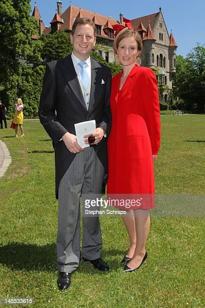 Royal Highness Prince Georg Friedrich Ferdinand von Preussen and wife Sophie Princess von Preussen attend the reception after the wedding ceremony of...