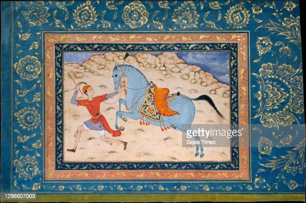 Royal Horse and Runner, 16th-17th century, Attributed to India, Ink, opaque watercolor, and gold on paper, Page: H 11 3/4 in , Codices, The drawing...