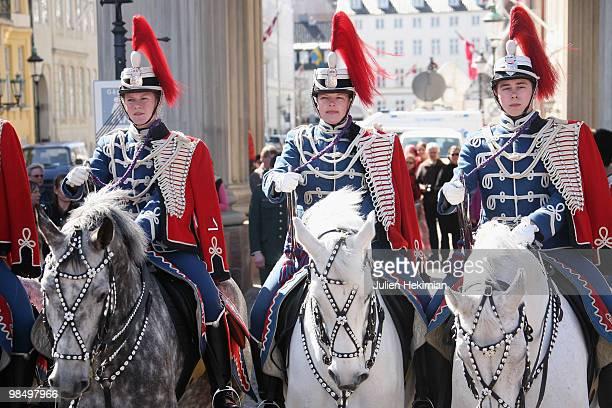 Royal horse guards attend the Queen Margrethe's 70th Birthday Celebrations at Copenhagen city hall on April 16, 2010 in Copenhagen, Denmark.