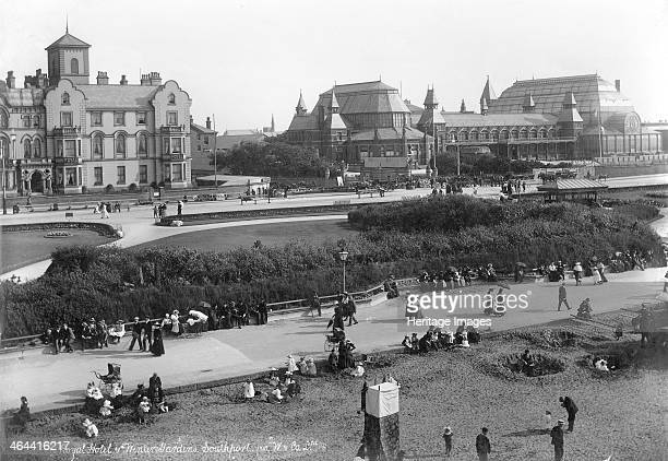 Royal Hotel and Winter Gardens, Southport, Lancashire, 1890-1910. A view looking towards the Royal Hotel and Winter Gardens in Southport. Children...