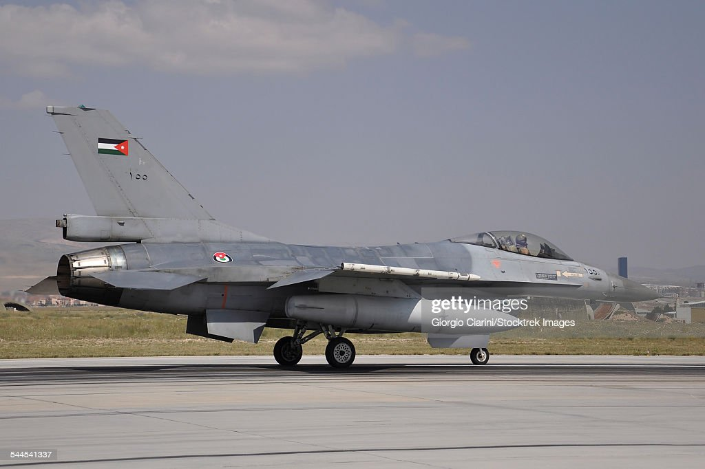 1008dbe22889 A Royal Jordanian Air Force F16am Aircraft Ready For Takeoff Stock ...