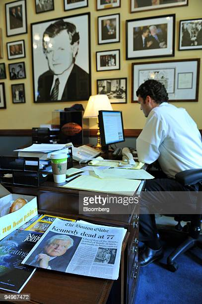 "Royal Karstens, a staffer for former Senator Edward M. ""Ted"" Kennedy works in his office in the Russell Senate office building in Washington, D.C.,..."