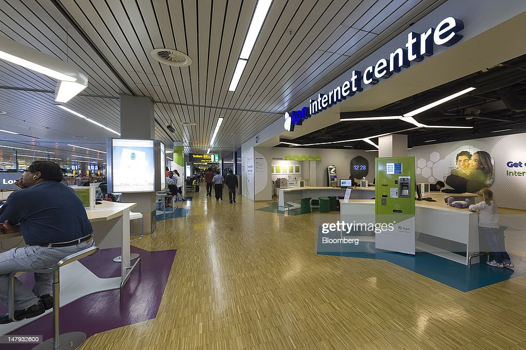KPN NV Phone Company Branding At Schiphol Airport : News Photo