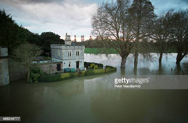 Royal Lodge in the grounds of Windsor Castle is surrounded by flood water after The river Thames burst it's banks on February 10 2014 in Datchet...