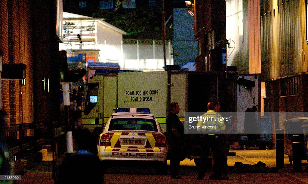 A Royal Logistics Bomb Disposal Unit parks down an alley way