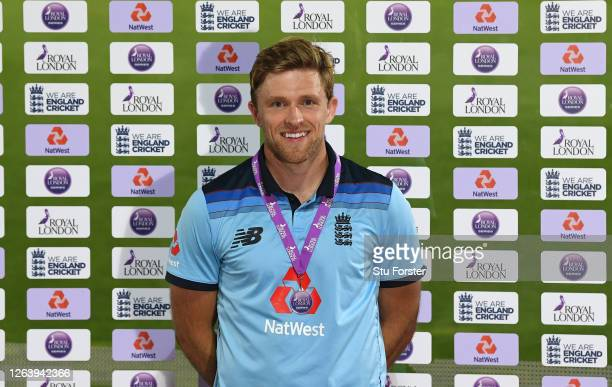 Royal London Player of the Series David Willey poses for a photo after the Third One Day International between England and Ireland in the Royal...