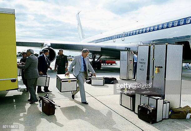 Royal Luggage For Prince Charles And Princess Diana Being Unloaded During A Royal Tour In Australia Each Piece Of Luggage Has A Colour Coded Label...