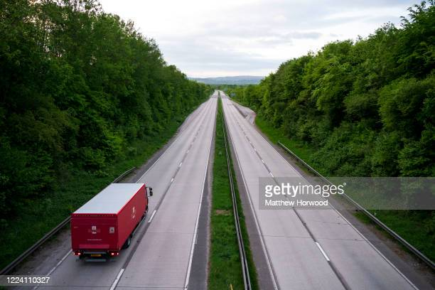 Royal Mail delivery vehicle on an empty A4232 dual carriageway road during the coronavirus lockdown period on May 10, 2020 in Cardiff, United...