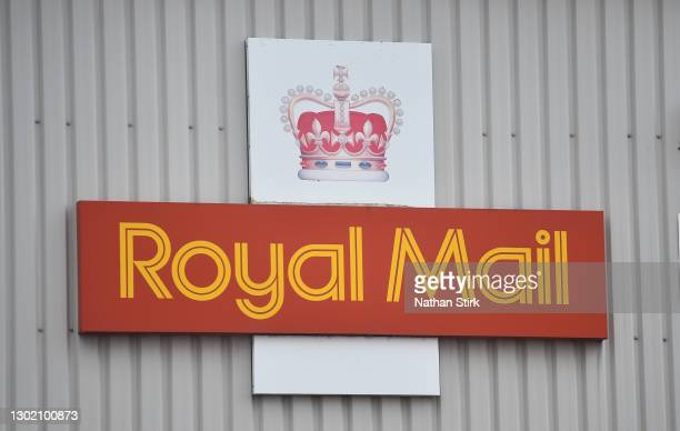 Royal Mail logo is seen outside a sorting office on February 14, 2021 in Congleton, England .