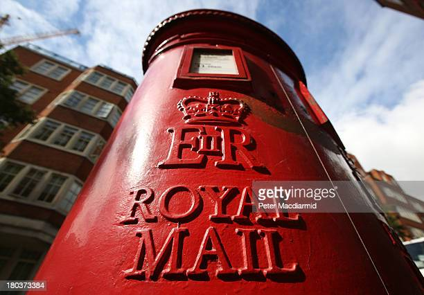 Royal Mail post box on September 12 2013 in London England The Royal Mail will be privatised in the next few weeks the Government has announced