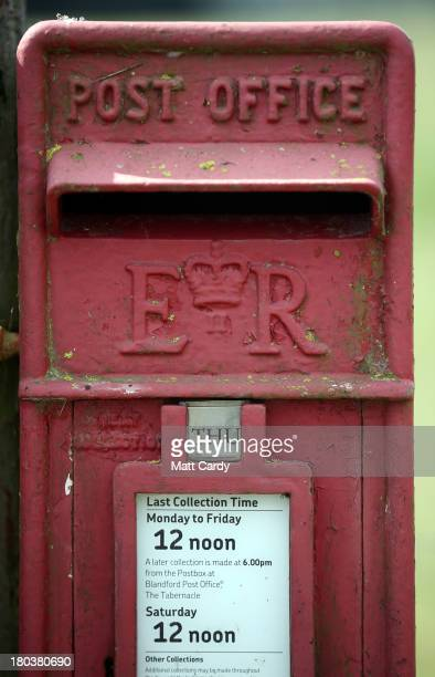 Royal Mail rural post box besides a country land near Poole on September 12 2013 in Dorset England The Royal Mail will be privatised in the next few...