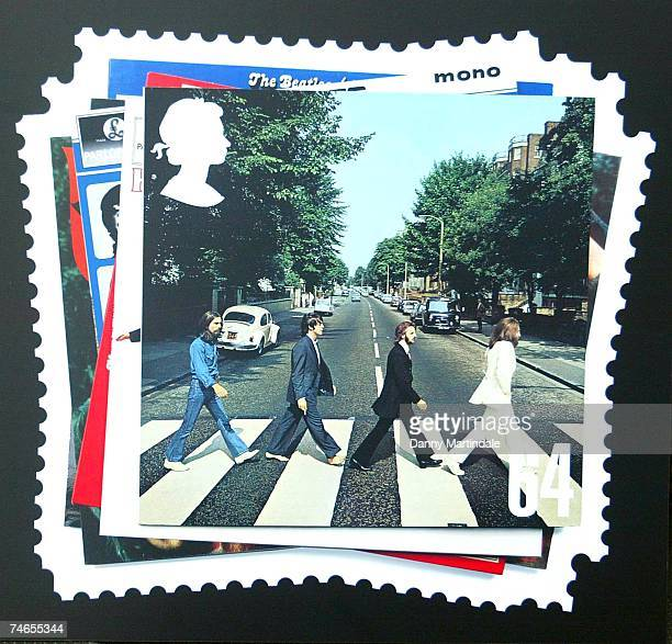 Royal Mail stamps featuring the Beatles, January 8, 2007. At the Abbey Road Studios in London, United Kingdom.