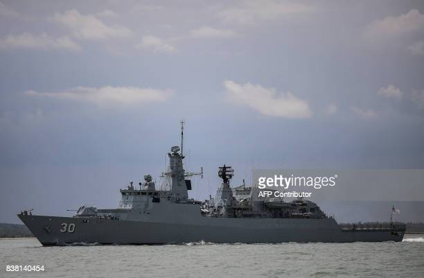 """Royal Malaysian Navy war ship """"KD Lekui"""" takes part in the rescue operation for the missing sailors from the USS John S. McCain off the Johor coast..."""
