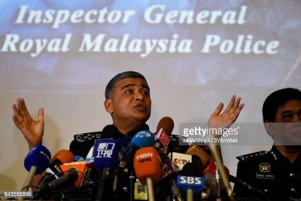 Royal Malaysian Police chief Khalid Abu Bakar addresses journalists during a press conference at the Bukit Aman police headquarters in Kuala Lumpur...