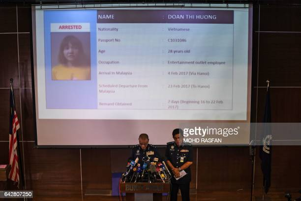Royal Malaysian Police deputy inspectorgeneral Noor Rashid Ibrahim speaks about detained Vietnamese suspect Doan Thi Huong during a press conference...