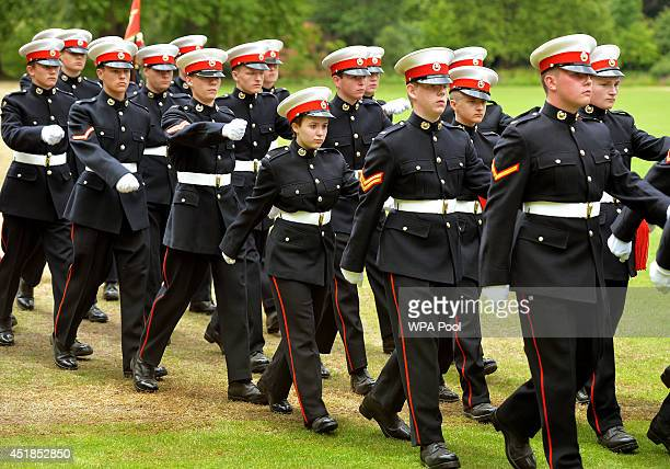 Royal Marine Cadets marching as they were presented with a new colour by the Duke of Edinburgh at a 350th Foundation day parade in the garden of...