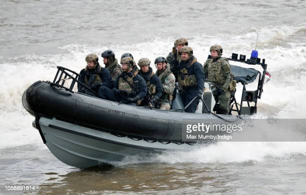 Royal Marines and the Royal Netherlands Marine Corps take part in an on-the-water capability demonstration, on the River Thames, watched by King...