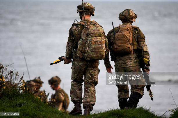 Royal Marines come ashore as they take part in Exercise Joint Warrior on April 26, 2018 in Dundrennan,Scotland. The exercise is involving some 11,600...