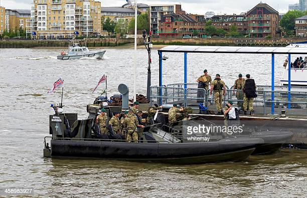 royal marines disembarking at greenwich on jubilee weekend - british military stock photos and pictures