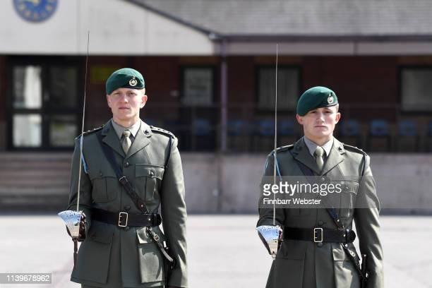 Royal Marines from the 40 Commando are presented with their fourth Firmin Sword Of Peace on April 01, 2019 in Taunton, England. The Firmin Sword of...