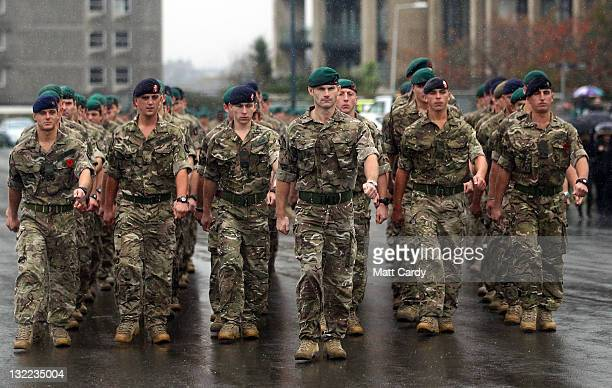 Royal Marines march along Plymouth Hoe on November 11 2011 in Plymouth England Thousands of people lined the streets for a Remembrance parade and...