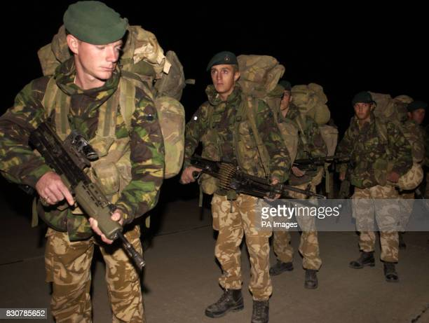 Royal Marines of 40 Commando Bravo Company arrive at Bagram Air Base Afghanistan part of the lead element of an International Peace Keeping Force