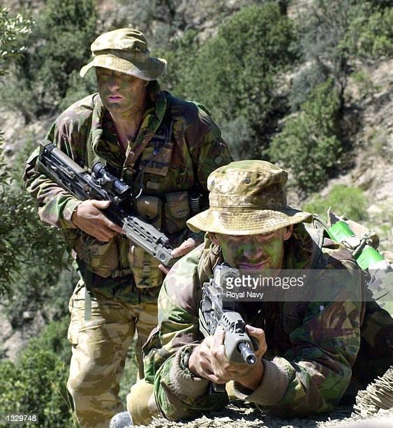 Royal Marines of 45 Commando based at Arbroath Scotland patrol for suspected al Qaeda and Taliban members during Operation Condor May 20 2002 in...