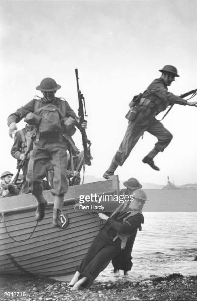 Royal Marines practising beach landings in preparation for the Allied invasion on D-Day. Original Publication: Picture Post - 312 - We Prepare for...