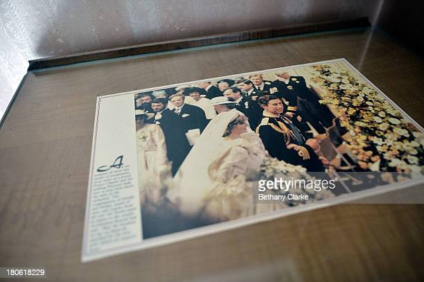 Royal memorabilia of Charles and Diana is seen on a table on September 4 2013 in Harrogate England The untouched 40bedroom house belonged to wealthy...